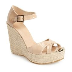 "Jimmy Choo 'Pallis' Wedge Sandal , 5"" heel ($330) ❤ liked on Polyvore featuring shoes, sandals, wedges, nude, wedge heel sandals, nude wedge shoes, nude high heel sandals, high heel wedge sandals and espadrille sandals"