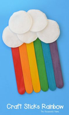 This craft sticks rainbow is a fun craft for kids to make for St. Patrick's Day, spring, summer or letter R. #springcrafts #stpatricksday #rainbowcrafts