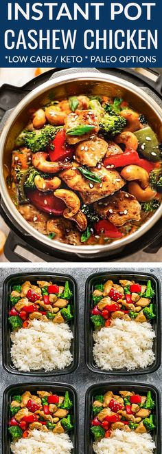 Instant Pot Cashew Chicken Stir Fry – a popular Chinese takeout favorite made easily in the pressure cooker in 30 minutes! Best of all, simple to customize and perfect for busy weeknights. ade with healthy vegetables like broccoli & red bell pepper with c Chinese Chicken Stir Fry, Chicken Cashew Stir Fry, Stir Fry Dinner Recipes, Instant Pot Dinner Recipes, Instant Recipes, Healthy Vegetables, Chicken And Vegetables, Stir Fry Vegetables, Broccoli Chicken
