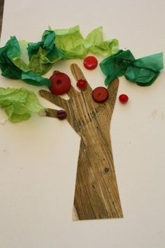 Handprint, button apple tree: Fun and easy Fall craft for preschoolers and toddlers! Great craft for an apple theme too! .  Kids love having their hands traced, and the tissue paper and buttons add a lovely tactile and fine-motor aspect to the activity - Happy Hooligans