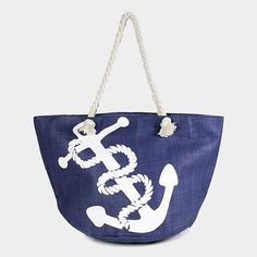 Blue Nautical White  Anchor  Tote Beach Bag Shopping Tote