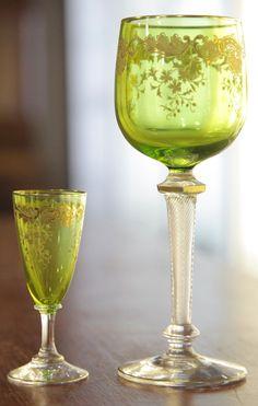 Bohemian Glass; Stemware (19), Olive Crystal Bowls, Gilt Decoration, Twist Stems. C. 1901 -2000