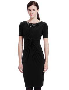M&S Collection - Rechte jurk met gedraaide voorkant met siersteentjes op de halslijn en Secret Support
