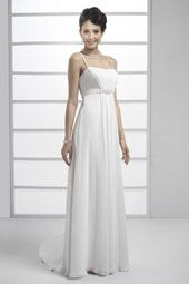 Pallas Athena wedding dress/gown- white sheath style wedding dress with beading, spaghetti straps and straight across neckline. For the Bride Boutique Ft. Myers, Florida