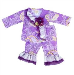 Haute Baby Paisley Joy Baby Girls Criss Cross Pant Set