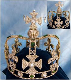 Imperial Mens Rhinestone gold State Crown