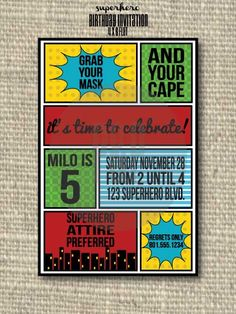 Superhero Printable Invitations