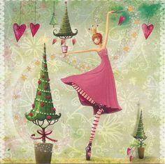 mila marquis art | Weihnachtspostkarte Ballerina mit Glitzer