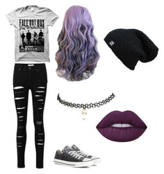 """""""pop punk princess"""" by galaxagal ❤ liked on Polyvore featuring Converse, Wet Seal and Lime Crime"""