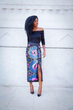 Folake Kuye Huntoon. Style Pantry Fashion Blogger. Off Shoulder Blouse + Beaded Sequin Midi Skirt