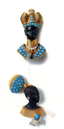 Cartier Blackamoor clip pair, c 1940s, copied by many costume jewelers.