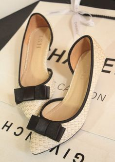 2013 Spring Summer Fashion Knitted Bowtie Pointed Toe Flat Shoes, Women's Shoes Free Shipping $26.30