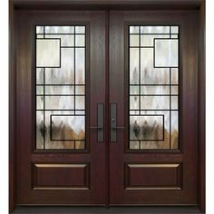 Double entry door - 3/4 size wrought iron design Chicago - FerrumTech collection