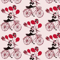 pin-up with balloons fabric or wallpaper by kociara on Spoonflower - custom fabric