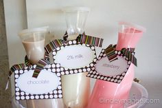 Chocolate, white and strawberry milk in pretty containers. Give kids a choice at your next party!