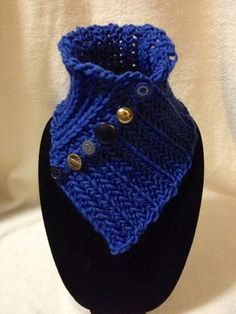 Hand Crocheted Blue Neck Cowl-Scarf-Warmer. 100% by TwistedTatters