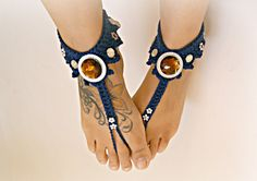 Victorian BAREFOOT sandles, barefoot sandal, hippie sparkly anklets, jewelled beaded anklet jewelry, foot thongs, bottomless shoes