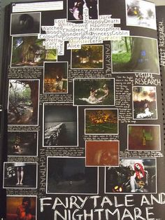 A very visual page exploring the theme of Fairytale and Nightmare. Artists from . - A Level Art Sketchbook - A Level Art Sketchbook, Sketchbook Layout, Sketchbook Pages, Sketchbook Inspiration, Fashion Sketchbook, Sketchbook Ideas, Photography Themes, Photography Projects, Book Photography