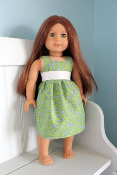 American Girl Dress Tutorial:  no pattern required!!!! Step by step photos of pieces to cut and of sewing method.  So glad I found this.