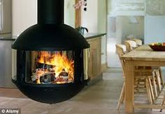 wood burner in centre of room - Google Search