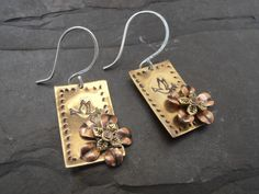Brass Bird and flower stamped mixed metal Earrings £10.00