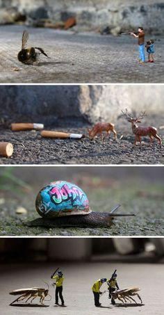 Miniature City Scenes: 21 of Slinkachu's Tiny Art Installations Micro Photography, Miniature Photography, Toys Photography, Creative Photography, Installation Art, Art Installations, Foto Fun, Urbane Kunst, City Scene