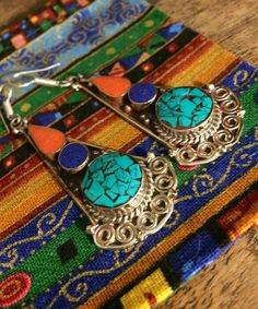 Gypsy earrings  - ethnic earrings - Tibetan earrings -  turquoise and coral - raw stone jewelry - artisan earrings by Omanie on Etsy