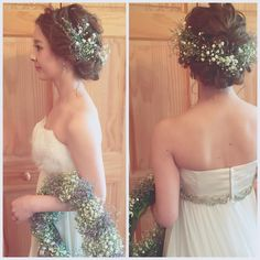 「* * チェンジ♡ * * #ヘアアレンジ #ウェディング #コーデ #マリhair」 Hairdo Wedding, Wedding Hair Flowers, Flowers In Hair, Wedding Colors, Wedding Dresses, Dress Hairstyles, Formal Hairstyles, Bride Hairstyles, Wedding Images