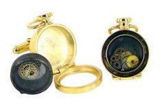 Fob cufflinks with cog inserts in sterling silver, 18ct gold plate, watch glass and watch parts - $540