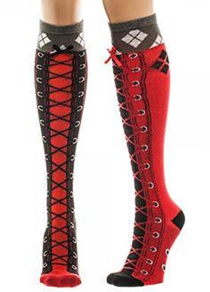 DC Comics Batman Harley Quinn Faux Lace Up Knee High Sock... http://www.amazon.com/dp/B019GJZMAS/ref=cm_sw_r_pi_dp_vsJuxb1J5KBW2