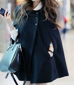 Women's Wool Cape Coats | Free Shipping 2013 Winter Women Fashion Wool Cloak Cape Coat Overcoat ...