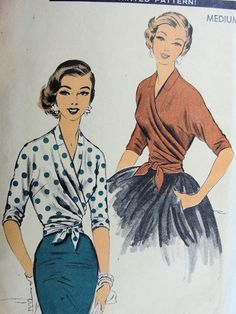 1950s WRAP AROUND BLOUSE PATTERN VERSATILE DESIGN 1 MAJOR PC SEW EASY ADVANCE 7701