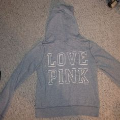 Victoria Secret PINK Zip up Hoodie Great pre-owned condition, I've had this for a few years but it's in great condition other than the zipper pull thing broke off as shown in the third photo, can still zip and unzip but the pull thing is gone. Firm price/no trades (cheaper on eBay or ♏️) PINK Victoria's Secret Tops Sweatshirts & Hoodies