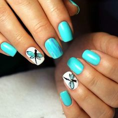 Opi Gel Nails, Manicure Y Pedicure, Diy Nails, Cute Nails, Pretty Nails, Turquoise Nail Designs, Turquoise Nail Art, Gel Nail Art Designs, Nail Design Video