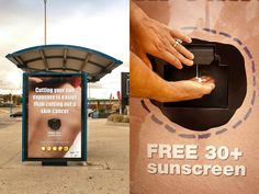 Free 30+ SPF Sunscreen at station