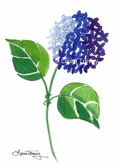 Blue Hydrangea Watercolor Print by lauratrevey on Etsy, $20.00