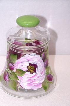 Glass Jar  hand painted with Pink Roses and Buds