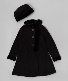Another great find on #zulily! Black Faux-Fur Fleece Swing Coat & Hat - Toddler & Girls #zulilyfinds