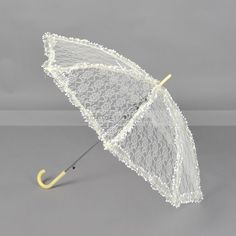 Yellow Lace Wedding Umbrella with White Tiny Flowers