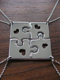 cool friendship necklace puzzle pieces for four - Google Search