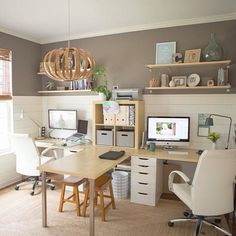 Dining room idea....built in double desk....maybe with another small table and 2 chairs on the other side?