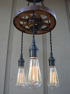 Upcycled Antique Buggy Wheel 3 Light Filament Bulb Chandelier