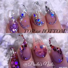 Top or bottom ♥️ #nails #coffinnails #nailart #glitter