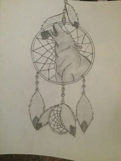Wolf dream catcher drawing