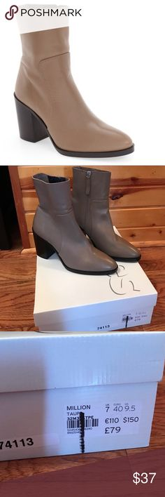 NEW Topshop Million Sock Boots Size 9.5 Brand new with box! Topshop million sock booties! Size 9.5 (but runs small) tan/taupe color! More item details in last picture :) no trades! Make me an offer 😊 Topshop Shoes Ankle Boots & Booties