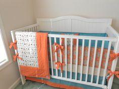 Crib Bedding Set Orange Aqua Fox by butterbeansboutique on Etsy. , via Etsy.