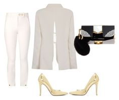 """White x Gold x Black"" by hautecoutureblvd on Polyvore featuring Tory Burch, Jimmy Choo and Dune"