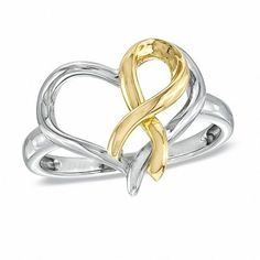Zales Hero Hearts Heart-Shaped Ring in Sterling Silver and 10K Gold Plate