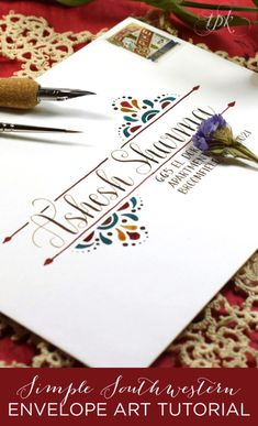 Simple Southwestern Envelope Art Tutorial If you're looking for a fun tutorial, try out this Southwestern envelope art! You'll need walnut ink, watercolor, and a pencil + ruler to get started! Envelope Lettering, Calligraphy Envelope, Envelope Art, Envelope Design, Envelope Templates, Calligraphy Doodles, Learn Calligraphy, Calligraphy Alphabet, Islamic Calligraphy