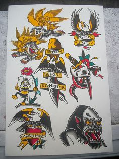 Death Before Dishonor Tattoo Flash | KYSA #ink #design #tattoo